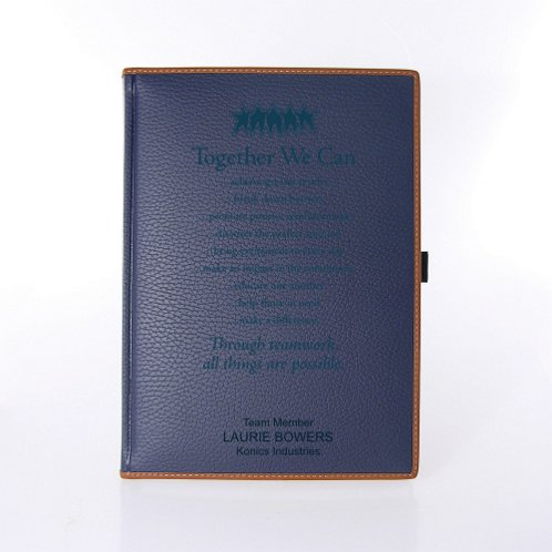 Navy Blue Textured Italian Leatherette Journal